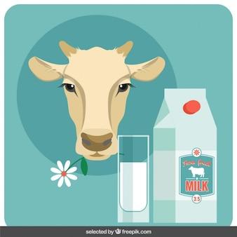 フラットなデザインの牛の頭とミルクイラスト