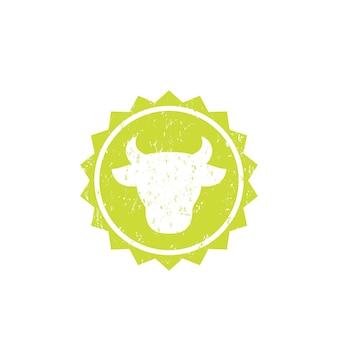 Cow head, cattle farm logo, vector badge