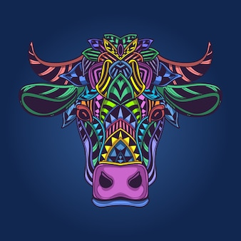 Cow head colorfull artwork
