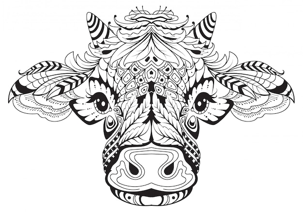 Cow head female symbol of 2021 tribal tattoo. black white drawing from abstract pattern