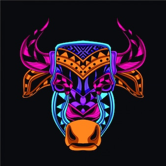 Cow head in glow color style
