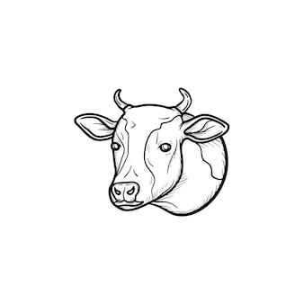 牛の頭の手描きのアウトライン落書きアイコン。白い背景で隔離の印刷物、ウェブ、モバイル、インフォグラフィックの有機子牛肉ベクトルスケッチイラスト。