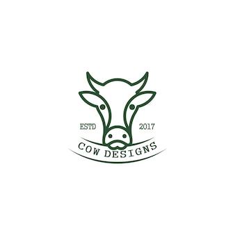 소 머리, 라인 아트. 로고 디자인 컨셉