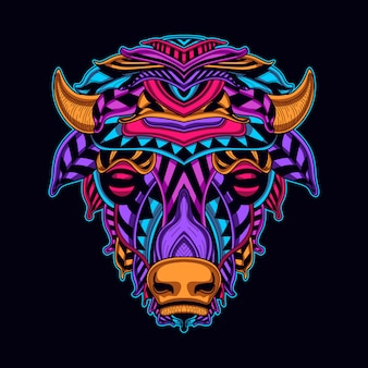 Cow head in neon color style art