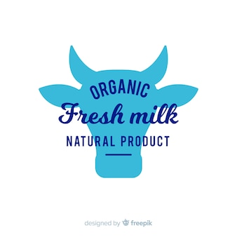 Cow head silhouette milk logo