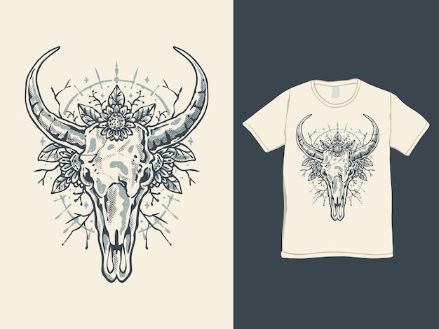 花のtシャツのデザインと牛の頭の頭蓋骨