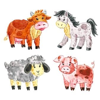 牛、馬、羊、豚。農場の家畜のクリップアート、一連の要素。水彩イラスト