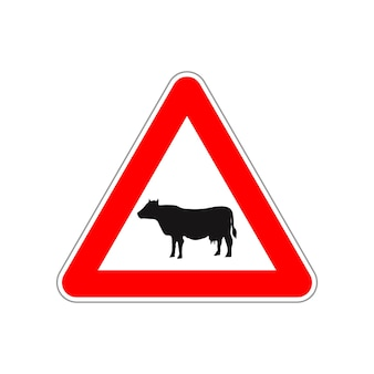Cow icon on the triangle red and white road sign isolated on white
