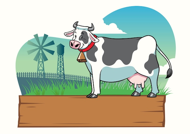 Корова на ферме с пустой деревянной табличкой