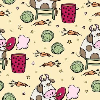 牛はボルシチを調理しています