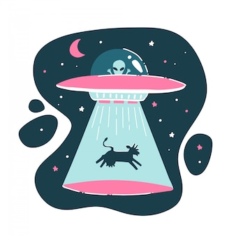 The cow is kidnapped by a ufo. funny drawing, childish, funny. drawing by hand. isolated alien print. flat  illustration