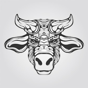 Cow line art black and white