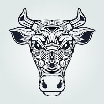 Cow line art dark blue