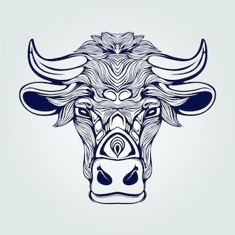 Cow line art tattoo