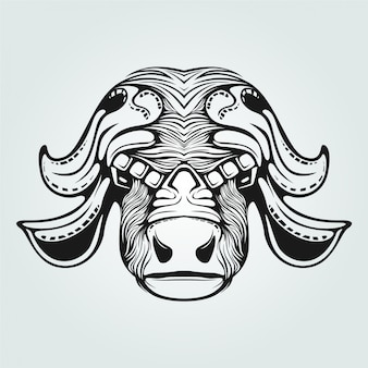 Cow line art with decorative face