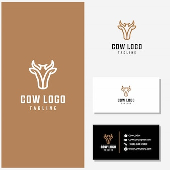 Cow logo design vector and business cards