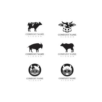 Корова логотип шаблон вектор значок иллюстрации дизайн