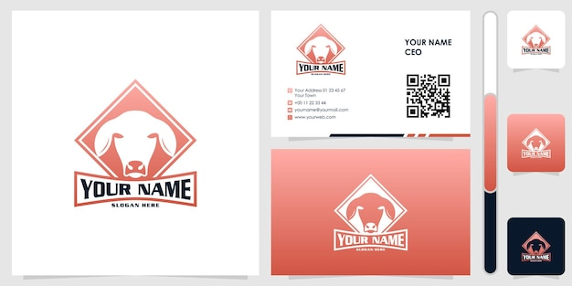 Cow logo with business card design vector premium