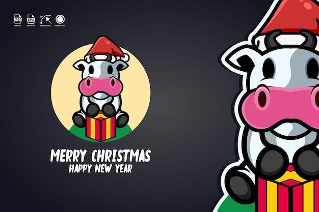 Cow merry christmas
