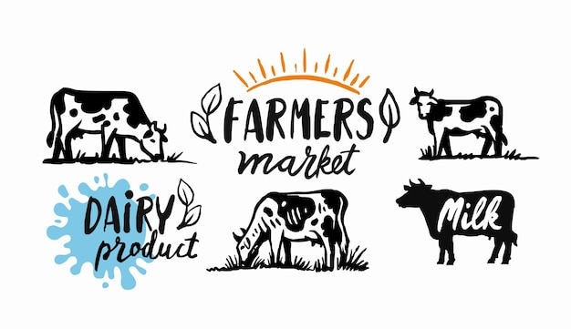 Cow and milk emblem farm black sketch stickers Premium Vector