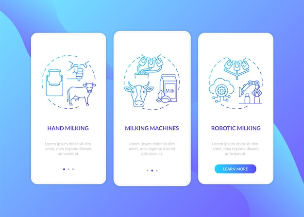 Cow milking blue gradient on boarding mobile app page screen with concepts.