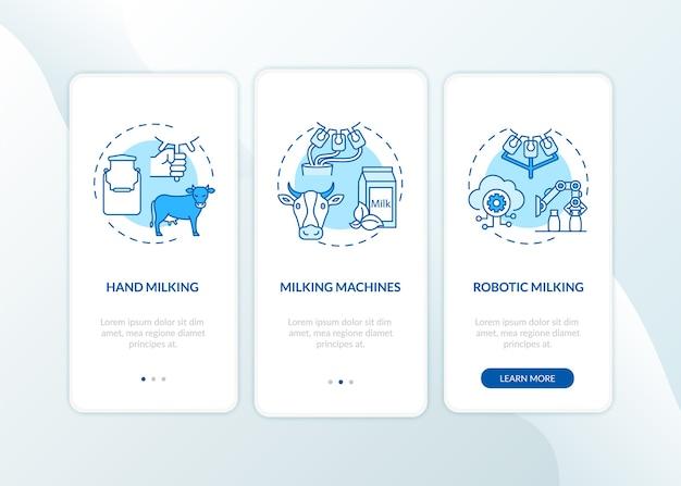 Корова доит синий экран страницы мобильного приложения с концепциями