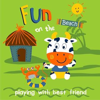 Корова, играющая на пляже