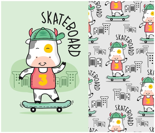 シームレスなパターンでスケートボードをする牛