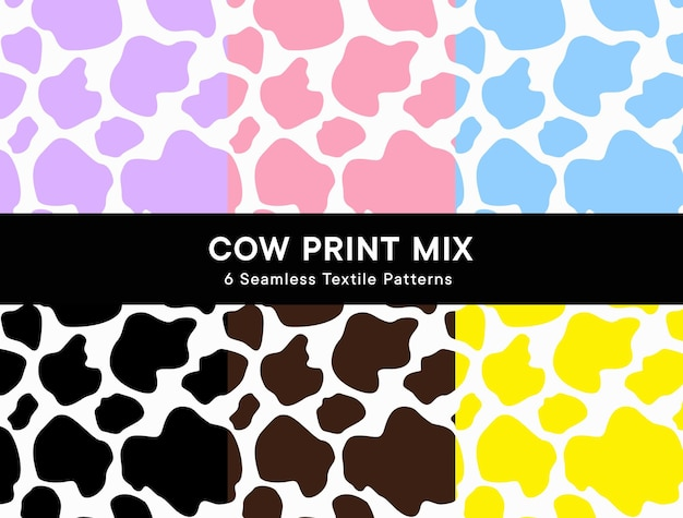 Cow print seamless patterns in 6 colors