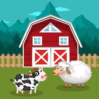 Cow and sheep in farmyard