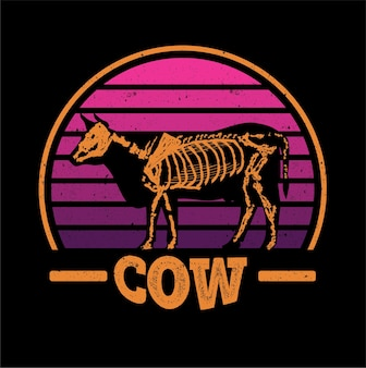 黒の背景に分離された牛のシルエット