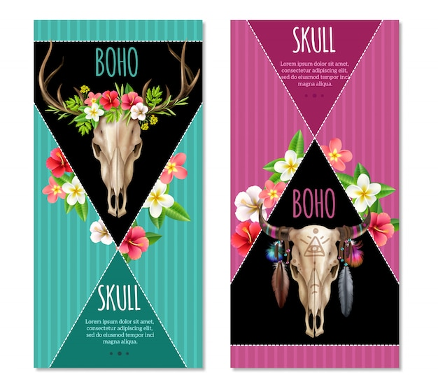 Cow skull banners set