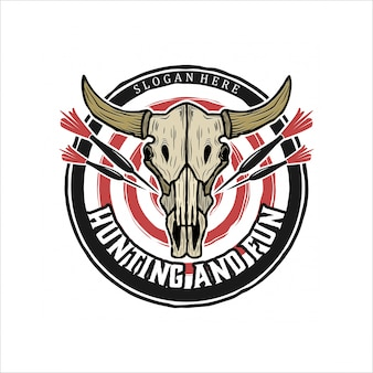 Cow skull and darts vintage logo