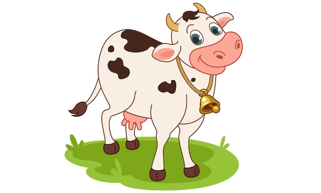 Cow smiling cartoon vector illustration