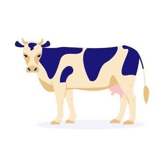 Корова. векторная иллюстрация в плоском мультяшном стиле. отдельный на белом фоне.
