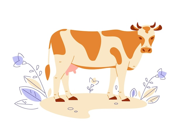Корова. векторная иллюстрация в плоском мультяшном стиле.