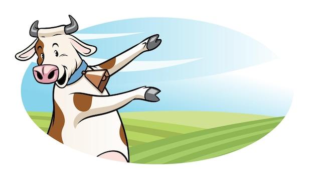Корова в мультяшном стиле, представляющая пустое пространство для текста