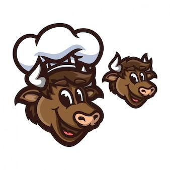 Cow with chef hat cartoon mascot