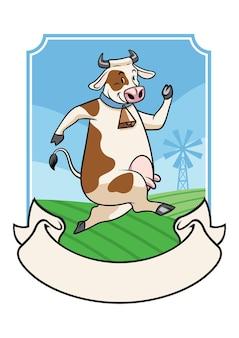 Корова с изогнутой лентой баннер