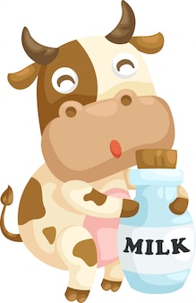 Cow with milk illustration