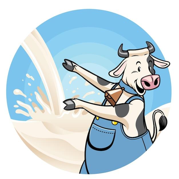 Корова с фоном всплеск молока