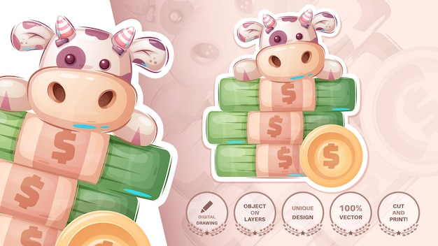 Cow with money - cute sticker