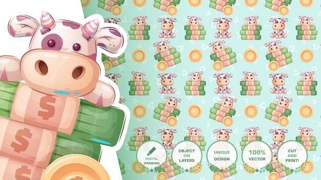 Cow with money  seamless pattern vector eps 10