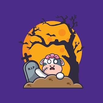 묘지의 암소 좀비 상승 귀여운 할로윈 만화 일러스트 레이션