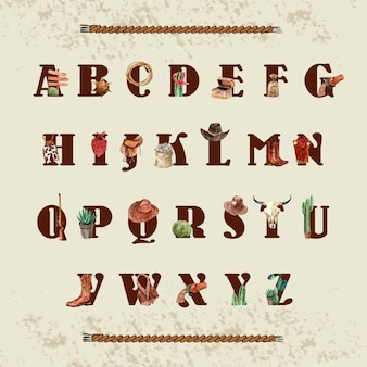 カウボーイの衣装、機器、サボテンとカウボーイのアルファベット