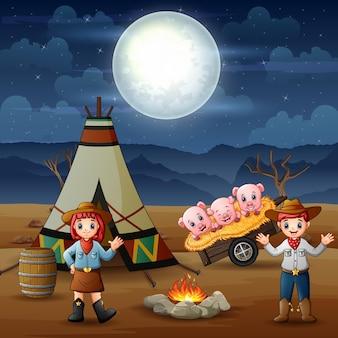 Ковбой и пастушка и свиньи в кемпинге ночью иллюстрации