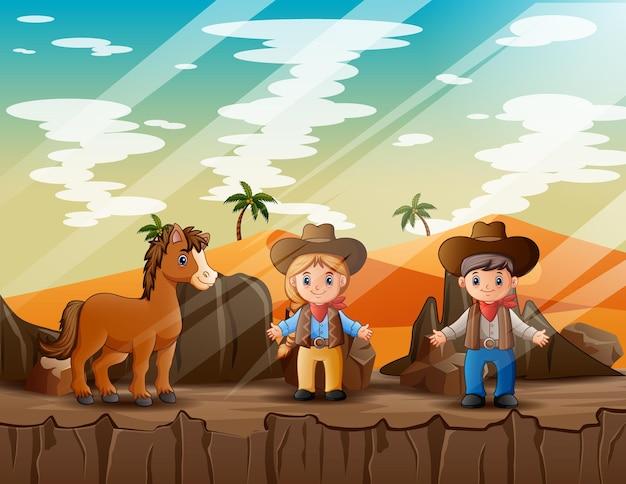 사막 그림에서 말과 함께 카우보이와 카우걸