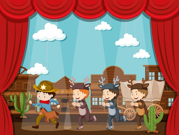 카우보이와 사슴 무대에서 플레이