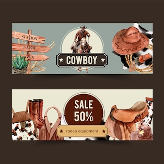 Cowboy banner with cowboy outfit and equipment