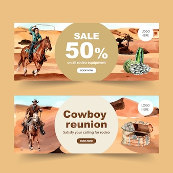 Cowboy banner with horse, cactus, chest, money